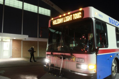 All aboard the holiday lights tour bus.