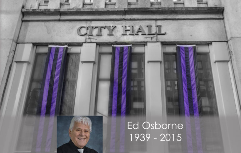 Memorial bunting on City Hall honoring Ward 5 Alderman Ed Osborne.