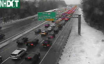 Traffic backed up on I-93 just above the Hooksett Tolls at about 2:30 on Jan. 18, 2015 due to icy road conditions.