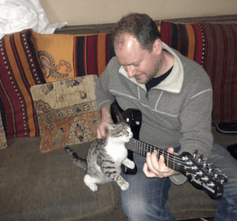 NPR correspondent Sean Carberry and Squeak, rocking out.