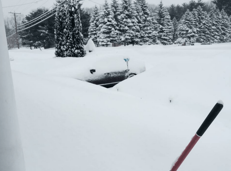 My shovel refuses to come out of the snow pile. Honest.