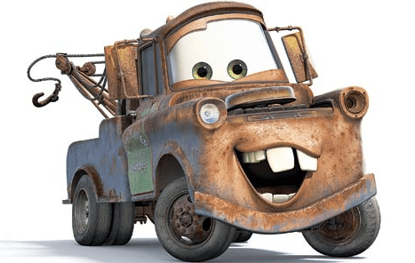 "Mater, the tow truck from ""Cars."""