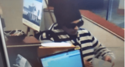 Suspect in credit union robbery.