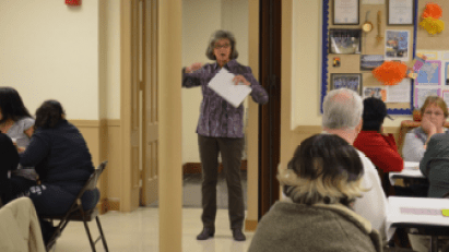 Sue Corby led the Communication Cafe March 25 at First Congregational Church.