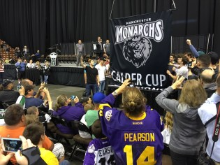 The Calder Cup banner is hoisted inside the Verizon Wireless Arena.