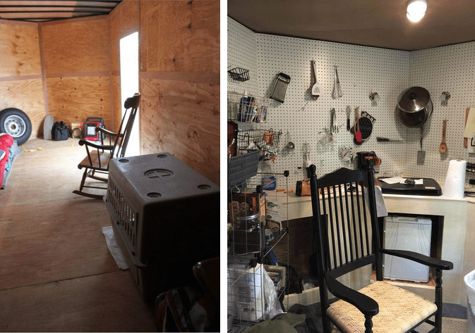 Before and after views of the interior of a utility trailer test home, inhabited by Liberty House Executive Director Keith Howard.