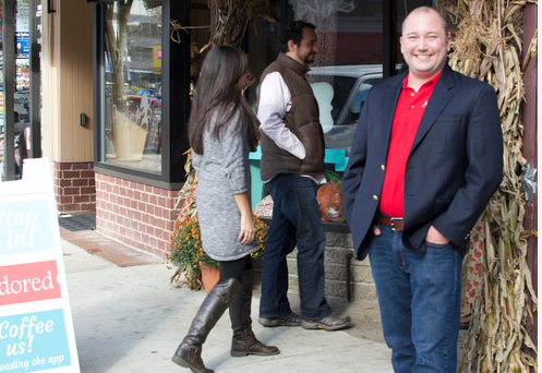 Adored CEO Cory von Wallenstein outside Cafe la Reine during his app's Oct. 2014 launch.