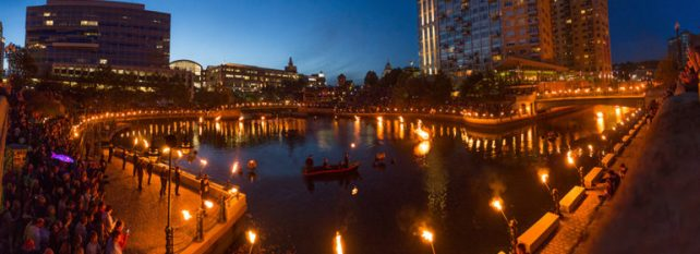 WaterPlace Park Basin during Waterfire with Providence Place in center background.