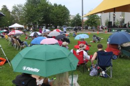 Come prepared: Sea of umbrellas at Veterans Park.