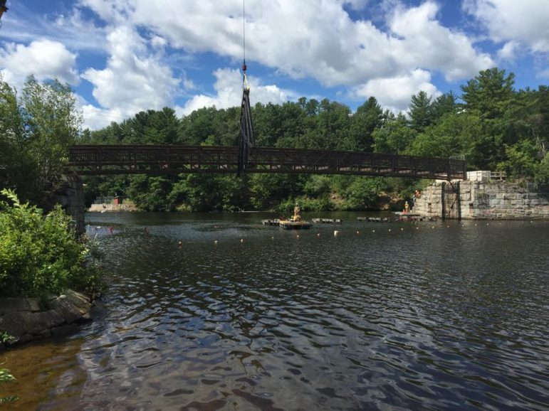 Progress: New bridge crossing the Piscataquog River from Manchester to Goffstown is taking shape.
