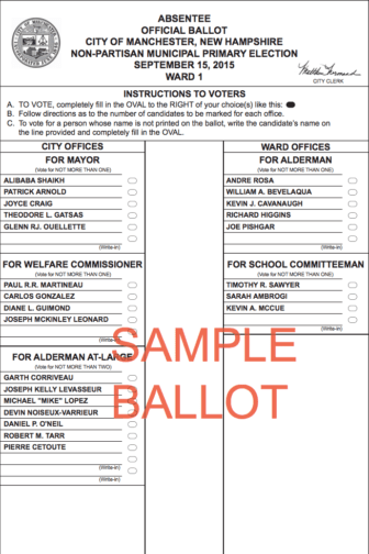 Ward 1 sample ballot.