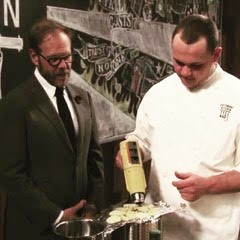Alton Brown, host of Cutthroat Kitchen, with Joe Grella, Executive Chef at The Dugout and 1Oak on Elm