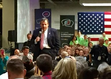 Chris Christie fields questions from audience members.