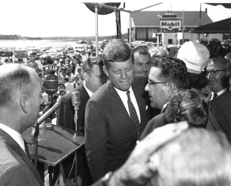 Then Presidential-aspirant John Kennedy addressed a gathering at Manchester Airport after touching down at Grenier Field during the 1960 campaign.