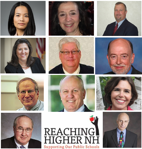 Board members of Reaching Higher NH, top row, L to R: Pawn Nitichan, Selma Naccach-Hoff, Scott McGilvray, middle row, L to R: Donnalee Lozeau; David Juvet, Mark Joyce, Lew Feldstein; Steve Duprey, Kass Ardinger; bottom row, left, co-chairs Tom Rath and Alan Reische.