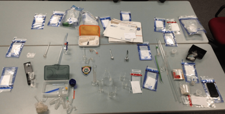 Items confiscated following Sunday's methamphetamine lab bust.