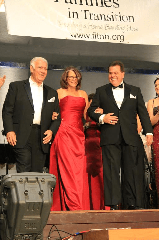 "Pictured in ""glam"" attire are (l to r) Mayor Ted Gatsas, City of Manchester; Maureen Beauregard, President and Founder of Families in Transition; and Charlie Sherman, Executive Director of New Horizons."