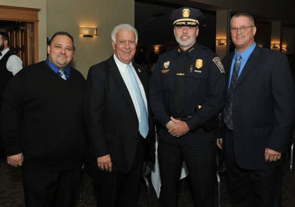 From left, Hector Andujar Jr., Mayor Ted Gatsas, Chief Nick Willard and Pastor Stephen Gordomski, at the recent Teen Challenge annual fundraising banquet at Executive Court.