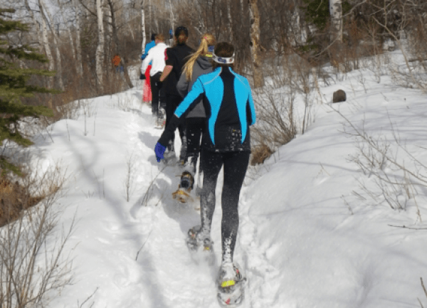 Valentine's Day snowshoe 5K at Massabesic Audubon.