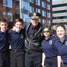 Police Chief Nick Willard with members of the Police Explorers.
