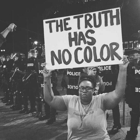 Emerald Anderson-Long during a recent protest in NC.