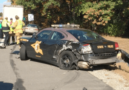 State Police cruiser damaged in Oct. 24 accident.
