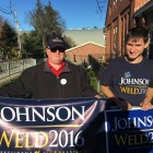 Brian Shields and Daniel Day, volunteers for Libertarians Gary Johnson and Bill Weld.