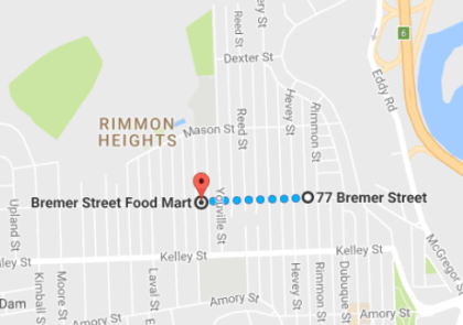 One store is a five-minute walk from the other.