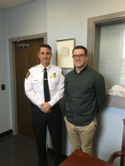 Chief Ed Conley with Salem State University Intern Evan Mercier