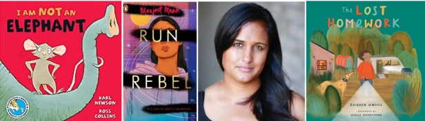 I am not an elephant front cover.  Run rebel cover and photo of Manjeet Mann. The Lost homework cover.