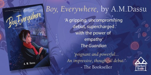 Boy, everywhere book cover with reviews from The Guardian and The Bookseller.