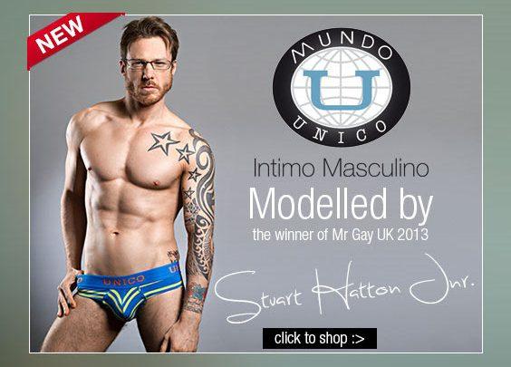Mr Gay UK 2013 models the latest Mundo Unico for DGU