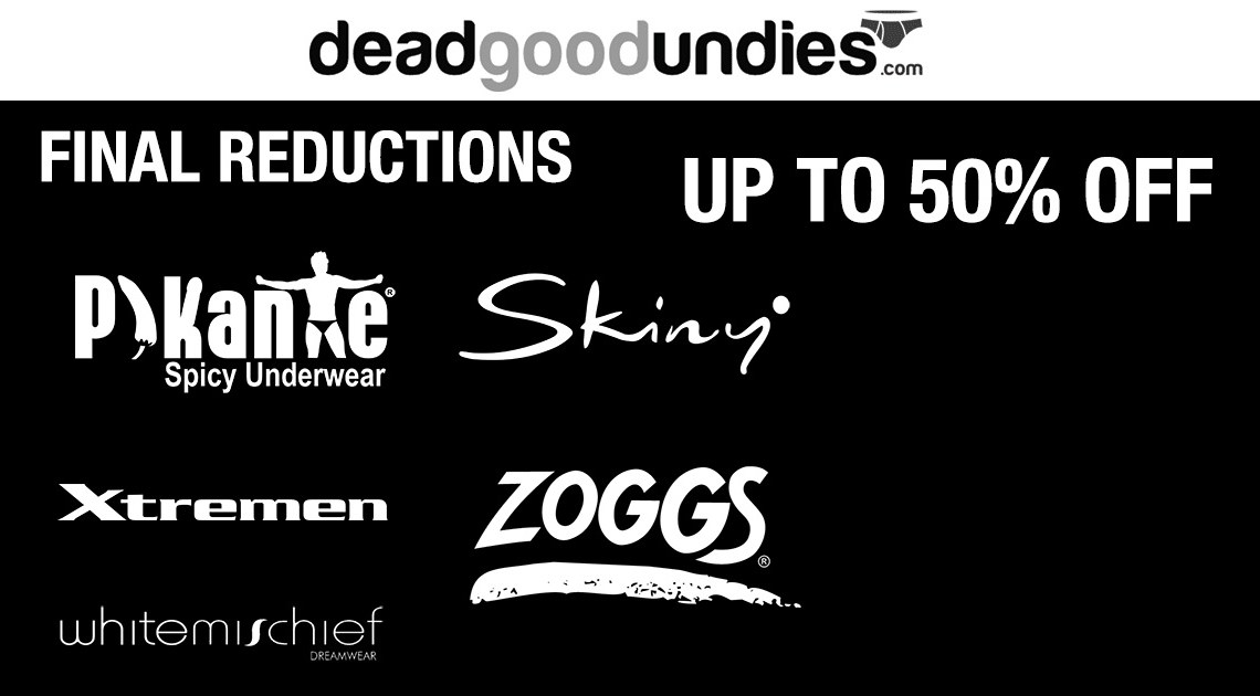 Massive Underwear Savings – up to 50% off Skinny, Pikante, Whitemischief, Xtremen and Zoggs
