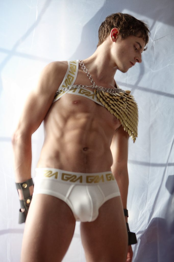Garcon Model Gold Collection with Taylor Reign - white brief and harness