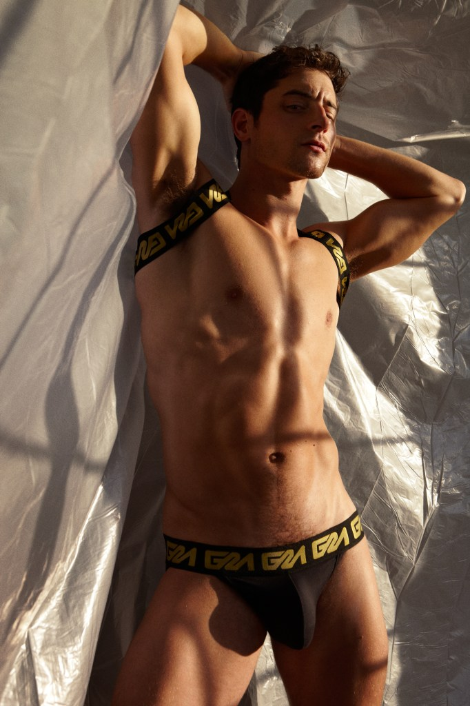Garcon Model Gold Collection with Taylor Reign -black jockstrap