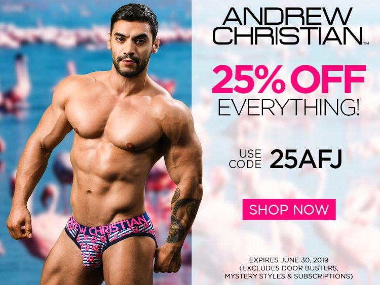 25 percent off at Andrew Christian with the code 25AFJ