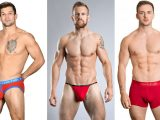 A selection of male models in red underwear