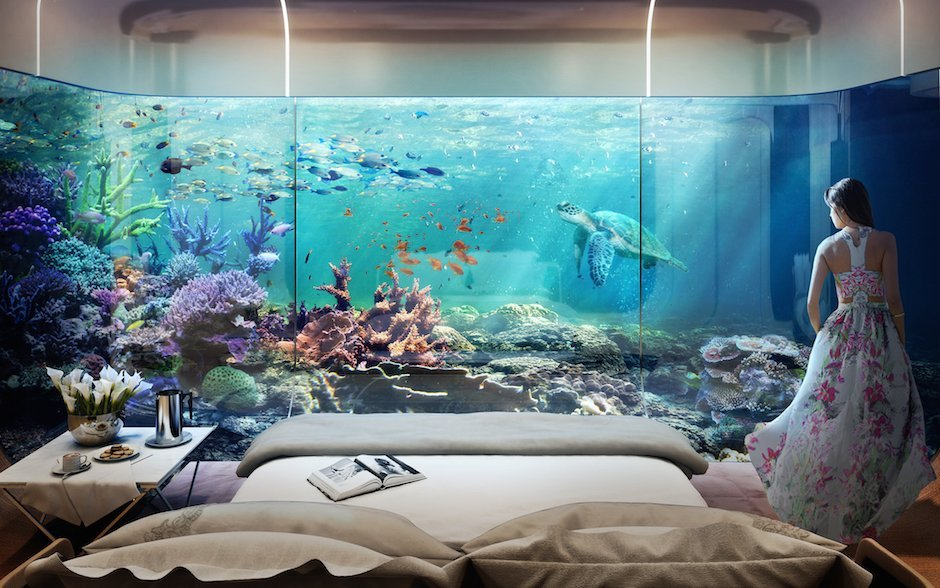 Floating Seahorse Bedroom Underwater Dubai Unterwasser Schlafzimmer