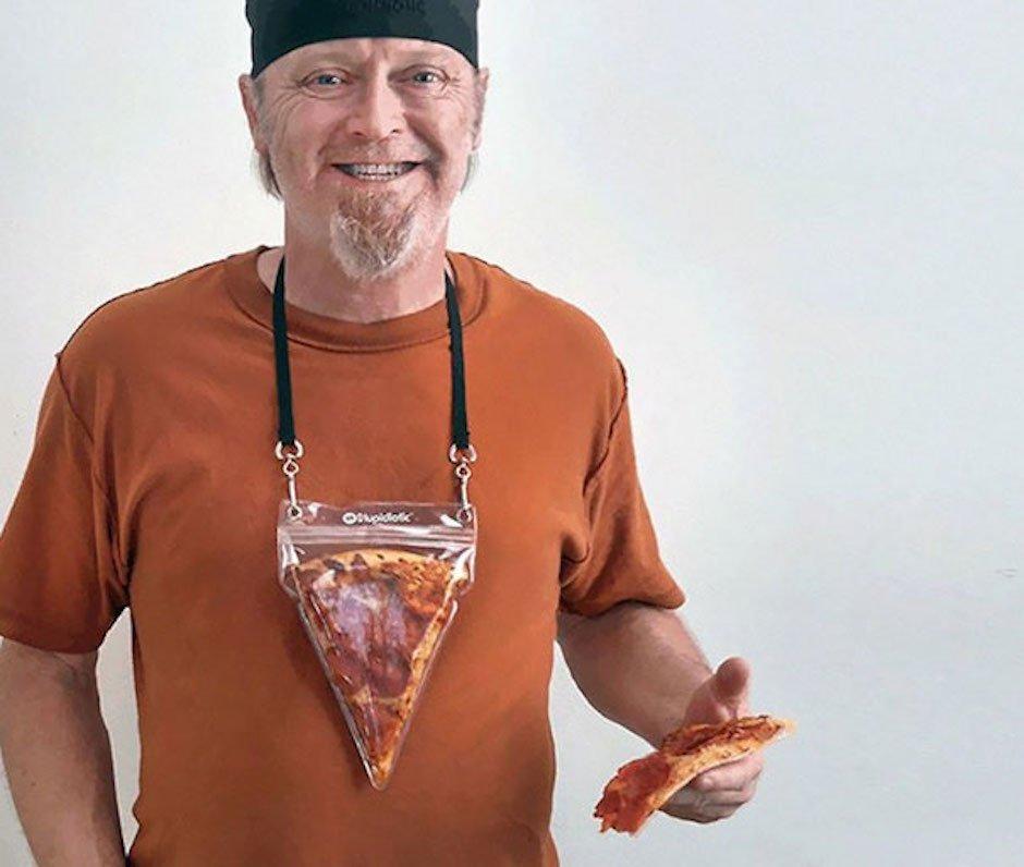 Portable Pizza Pouch Pizzatasche Halskette Stupidiotic Funartikel Scherzartikel