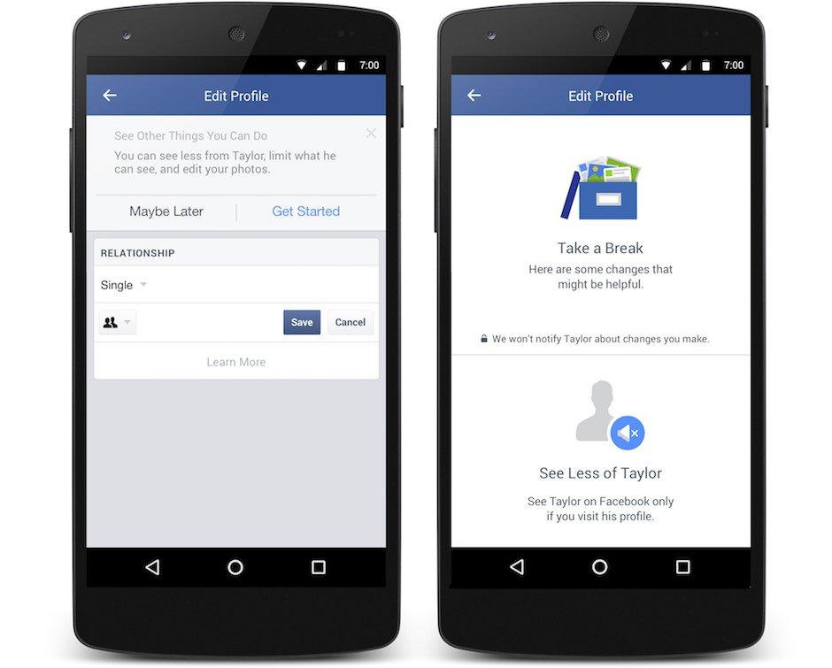 Facebook Breakup Tools Beziehungsstatus geändert Trennung Single Schlussmachen Smartphone Chronik verbergen Privatsphäre