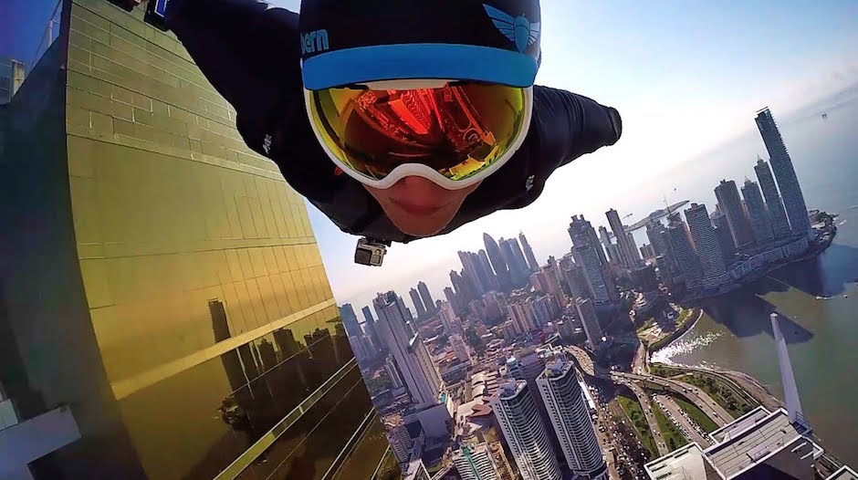 Urban Wingsuit Flight Through Downtown Panama City