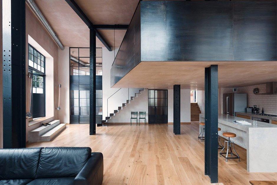 Sadie Snelson Warehouse Conversion ArchitekturEast London Stahl Küche Licht durchflutet