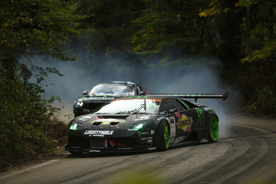 Lamborghini Murcielago Ford Mustang RTR Drift Battle Japan Rauch Hillclimb Togue