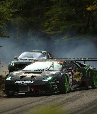 Lamborghini Murcielago Ford Mustang RTR Drift Battle Japan Rauch Hillclimb Serpentinen Bergstraße