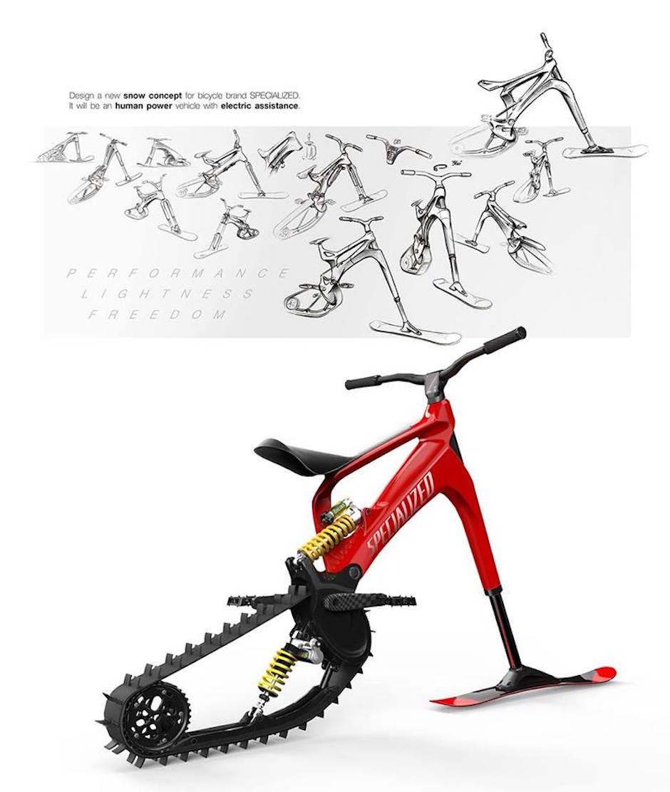 Snowmoto Specialized Electric Snowbike Konzept