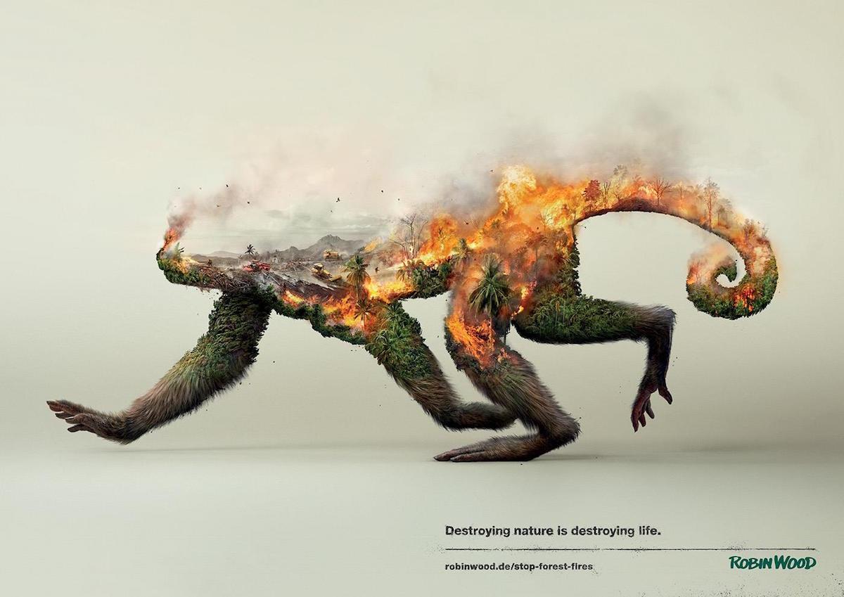 Robin Wood's Kampagne zur Erhaltung der Natur macht genial und dramatisch auf sich aufmerksam