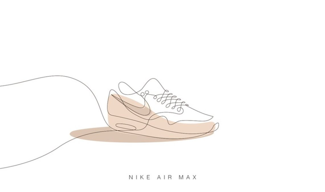 one line nike air max illustration sneaker