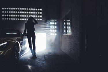 Lichteinfall Silhouette Schatten Frau Auto