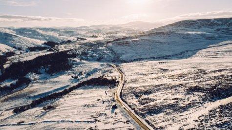 Sonnenuntergang Schnee Schottland Highlands