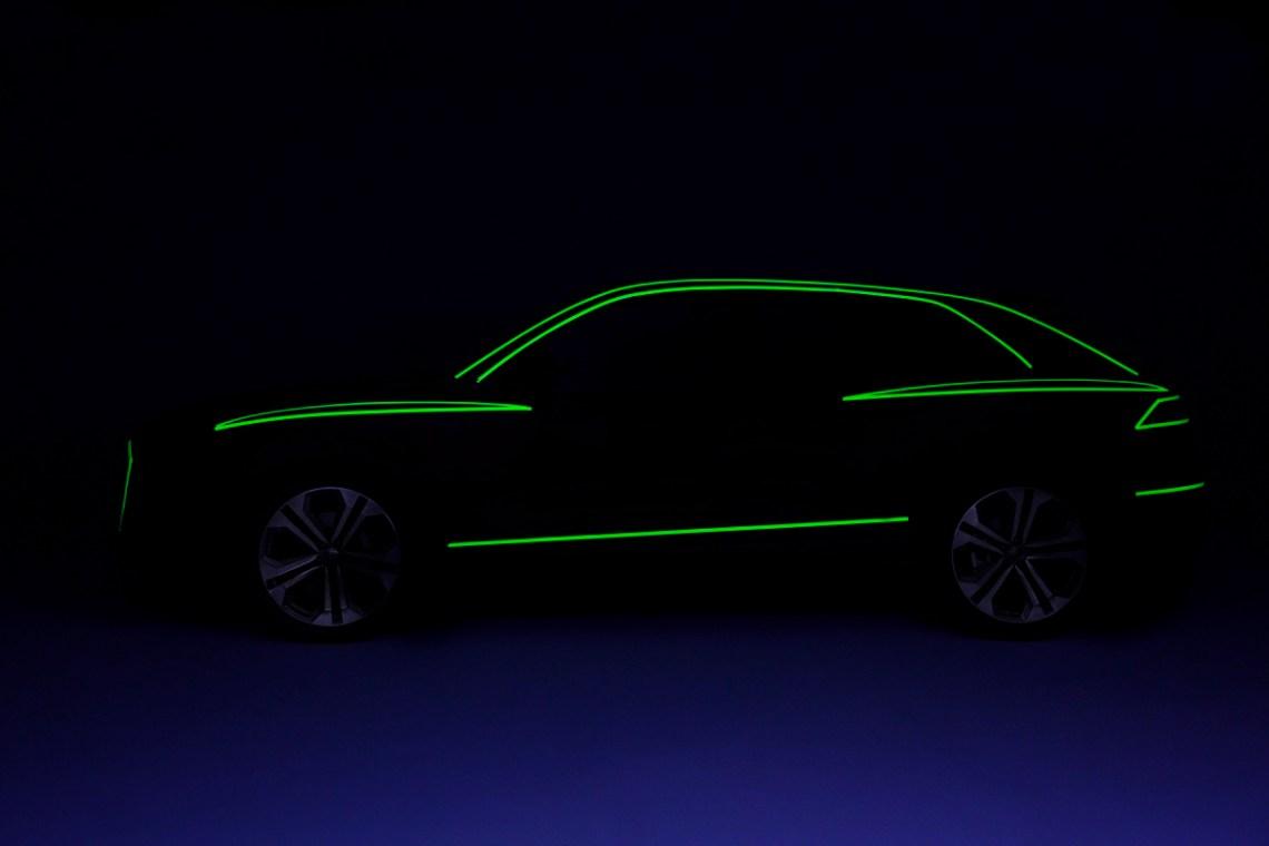 Audi Q8 Side view design study green tape